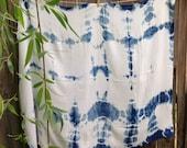 Hand Dyed Indigo Shibori Bamboo Swaddle no.6