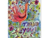 Peacock Thank You Card - Watercolor Card - Original Painting