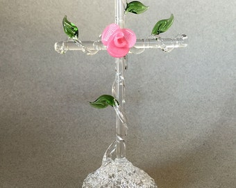 Hand Blown Glass  Cross with Pink Flower and Leaves, Figurine, Sculpture