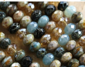 10% off BOHEMIAN .. 25 Premium Picasso Mix Czech Rondelle Beads 6x8-9mm (4405-st)