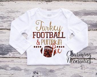 Fall Thanksgiving Baby Girl Shirt, Coming Home,Toddler Girl Shirt, Football Fan Sister, Turkey Football Pumpkin PieCharming Necessities
