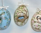 Set of 3 Gourd Easter Eggs -  Hand Painted - Humming Bird, Birds Nest and Chickadee - Hand Painted