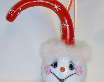 Snowman Dipper Gourd - Hand Painted Gourd Art