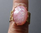 ON SALE Imitation Pink Opal Ring, Acrylic Fire Opal Ring, Plated Hammered Brass Adjustable Vintage Style Ring 5 6