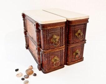 Vintage Wood 4 Drawer Cabinets, Repurposed Sewing Machine Drawers, Sewing Craft Organizer