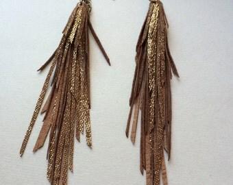 Metallic Brownish Gold Tassel Fringe Leather  Earrings