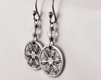 Snowflake Earrings, Fine Silver Earrings, Petite Earrings, , Holiday Jewelry Gifts for Her Ready to Ship