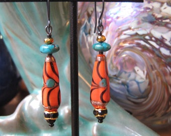 Orange Earrings, Turquoise Jewelry Orange Black Rare Bead, Earrings Turquoise, Dangle Earrings Jewelry, Colorful Earrings Unusual Jewelry