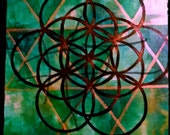 "Sacred Geometry II x 10.5"" 13.5"" original acrylic painting on mat board signed and dated"