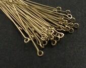 Eyepin 50 Headpins Bronze 1.75 inch (45mm) 21 gauge (1065pin45z1)