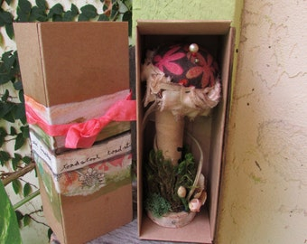 Handmade Toadstool in a collaged box