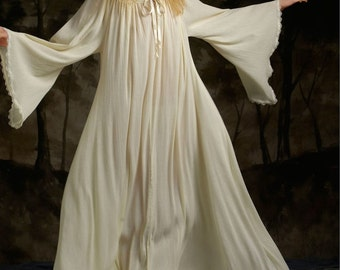 Chemise Renaissance SCA Medieval Pagan Witch Faerie Fairy Gypsy  Halloween Costume  Garb Long-Sleeved Flowy Cotton Gauze  Made To Order