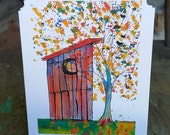 Outhouse Tree Notecard, blank inside