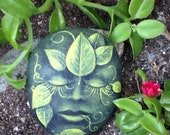 GREEN GARDEN FACE a slumbering hand painted stone, sleeping face of nature, vines and leaves, home or garden decor