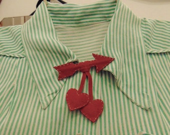 Red Arrow through my Hearts Suede Leather Brooch