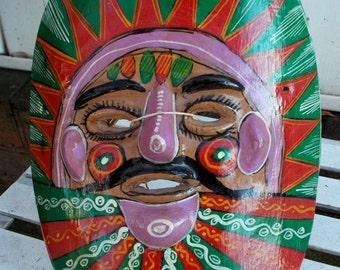 Vintage Mexican Clay Mask  Ceramic Wall Hanging Folk Art 1970s  Hand painted Garden Art Cinco de Mayo