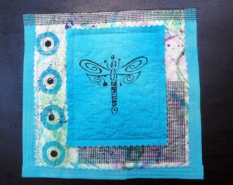Dragonfly Blue Fiber Art Quilted Collage Wall Hanging