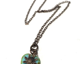 SALE Turquoise blue Heart Necklace on Brass Chain