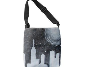 Galaxy cityscape cross body bag tote purse full moon stars city buildings custom order outerspace scene teen artist