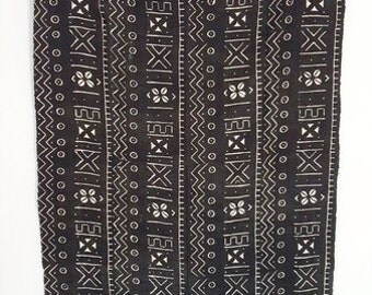 Vintage African Mud Cloth Throw Blanket / Textile Fabric