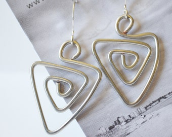 Made in Maine Hammered Wire Triangle Swirl Earrings-Birthday gift for her-Swirl Silver Jewelry-Light weight wire jewelry-everyday earrings