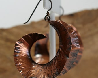 Large Copper Fold Form Earrings