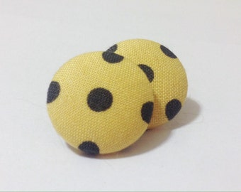 Yellow and Black Polka Dot Fabric Button Earrings