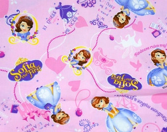 Disney  Fabric Sofia the first  50 cm by 106  cm or 19.6 by 42  inch Half meter