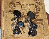 Victorian Steam Punk Industrial Inspired  Antique Button Earrings Black and Metal Buttons   Ear Wires Dangle Hoop Ginas Creations Original
