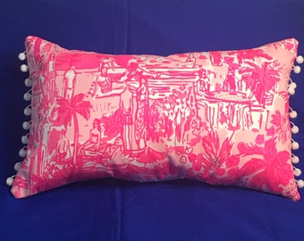 New Pillow made with Lilly Pulitzer Rule Breakers fabric