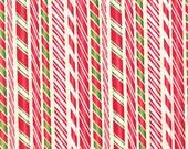 FABRIC Holly Jolly CHRISTMAS 4 CANDY Cane Sticks Stripe  1/2 yard