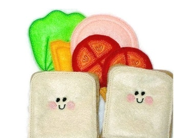 Pretend play felt food Smiley face sandwich #PF2501SMILEY