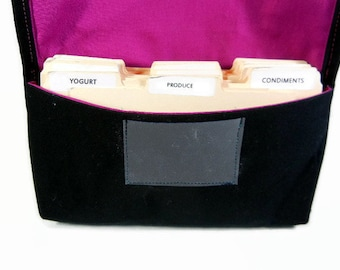 Fabric coupon organizer  and Receipt Holder Black Cotton Twill Purple Plum Lining