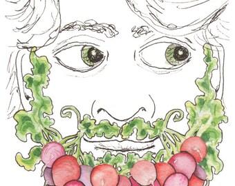 Radish Beard Artwork Vegetable Mustache Bearded Man Vegetable Decor Vegetable Wall Art Weird Vegetable Art Mustache Art Veggies Radishes Art
