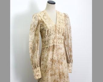 VTG 70's Gunne Sax Earthy Floral Maxi Dress (Small / Medium) Long Sleeve Corset Empire Waist Medieval Lace Jessica McClintock Prairie Boho