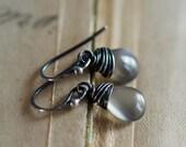 Cat's Eye Earrings, Drop Earrings, Dangle Earrings, Wire Wrapped, Sterling Silver, Taupe, Platinum Gray, Gemstone Earrings, PoleStar