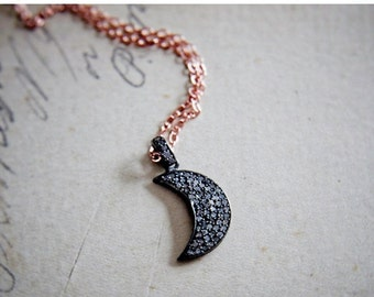 ON SALE Crescent Moon, Moon Necklace, Diamond Pendant, Diamond Moon, Rose Gold, April Birthstone, Moon Charm, Anniversary Gift, Fine Jewelry
