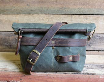 Waxed Canvas tote, Small zipper purse, crossbody zipper bag, waxed canvas purse, Zipper Top Traveler Handbag, free shipping