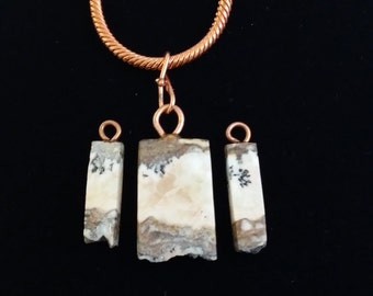 stone agate pendant and earrilookngs