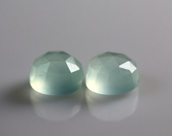 8mm Aqua Chalcedony Faceted Cabachon Pair