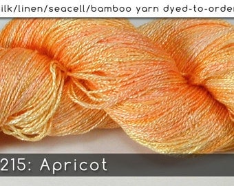 DtO 215: Apricot on Silk/Linen/Seacell/Bamboo Yarn Custom Dyed-to-Order
