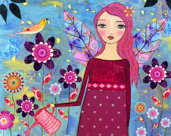 Secret Garden Fairy  Painting, Children Decor, Nursery Art, Nursery Art Print, Wooden Art Block, Fairy Art, Fairy Painting, Art for Children