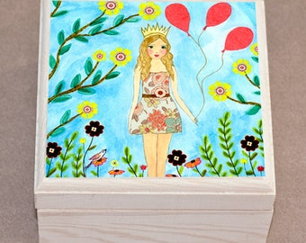 Jewelry Box, Girl Jewelry Box , Wooden Trinket Box, Girl with Birthday Balloons Gift Box