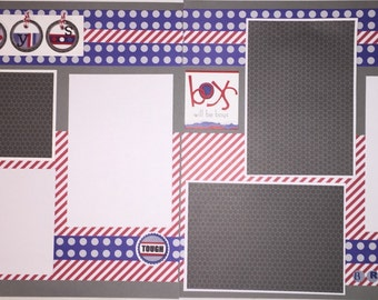 OUR BOYS 12 x 12 premade scrapbook layout - Brothers Boys