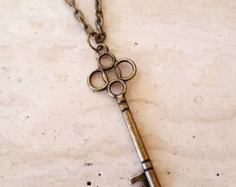 Key Necklace, Skeleton Key Necklace, Layering Necklace, Key Charm, Antique Brass Key Necklace
