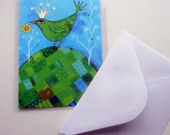 Bird on a Hill, greetings card, original whimsical  FREE SHIPPING with another item
