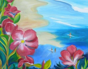 Beverly Beach Roses landscape oil painting