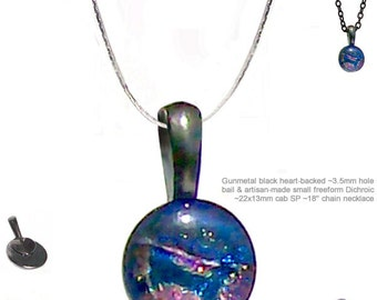 MERZIEs gunmetal DICHROIC glass freeform cab artisan pendant silver plated achain necklace #3 - SHIPs from USA - Combined Shipping