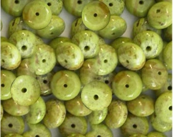 MERZIEs rare Australian GASPEITE green beads U PICK ~8mm handcut rondelle roundel rondel gem stone - SHIPs from USA - Combined Shipping