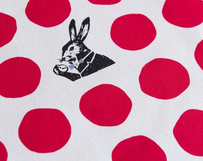 Echino Rabbit Nunokara - Alice in Wonderland - Dots Rabbit EF100-2-30 Red - Half Yard  Canvas Cotton Fabric